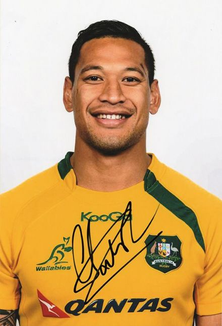Israel Folau, Australia, signed 12x8 inch photo.